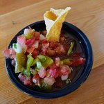 salsa with a chip