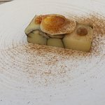 Norfolk Peer Potato terrine - with a quail's egg on top