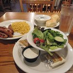 $7.99 Country Dinner Plate with southwest sausage, corn, side salad (with ranch), and biscuits.