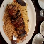 Chicken Kabob, onion, peppers tomato and rice