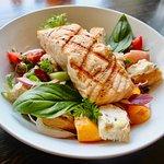 Grilled Salmon, Panzanella Salad, Organic Heirloom Tomato's