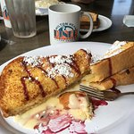 Raspberry French toast with hot coffee.. YUM
