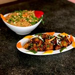 Kung Pao Fried Rice & Manchurian Tossed Veg served at Time Traveller Restaurant!