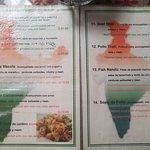 Muestra del menu del Lugar
