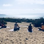 Morning yoga class at the beach of Costa Calma! Start your day right!