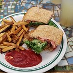 Deep Fried Tempeh Sandwich with Fries and Basil Lemonade! Delicious!