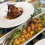 Shrimp and an amazing fish dish.