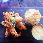 Chicken strips, mustard mayo an truffle Mac and cheese