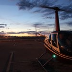 The R44 Helicopter during Twilight