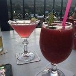 Cosmopolitan and strawberry daiquiri