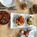 Slow Cooked lamb, spicy potatoes and Alioli potatoes