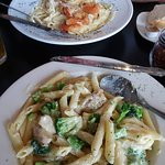 Seafood pasta and Chicken broccoli alfredo
