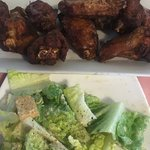 Chicken Wings and Caesar salad