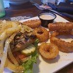 Turkey burger as on the menu. Mushrooms, onions with Swiss cheese... super yum!