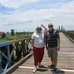 Us on the bridge between North and South Vietnam on a Tommy Dao tour from Hue