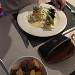 Salmon and mash plus duck fat potatoe