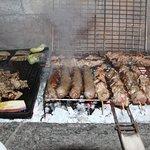 Gyros - Sausage and Souvlaki on the grill (butcher Georgios Triandafilos, Parikia)