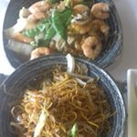 King Prawn Chow Mein and a side of noodles with bean sprouts