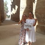 Having fun touring Karnak temples the largest one in Egypt
