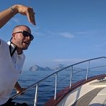 On the way to Capri - our tour guide giving us a lesson!