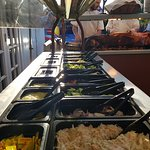 Pig roast and salad counter
