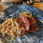 Medium/Rare Texas steak, top.