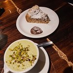 Pistachio tiramisu and almond/chocolate cake
