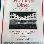 Mt. Hope Diner Menu (Front)