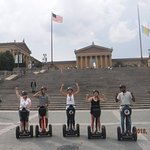 One teacher, four students touring Philly in front of Rocky stairs :)