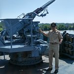 Our guide telling us about the 40mm AA gun, its actually a Swedish gun who knew!