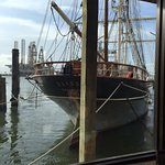 View of Elissa from our table at Fisherman's Wharf, Galveston, TX