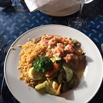 Golden tile with Pontchartrain sauce, pilaf & veggies, Fisherman's Wharf, Galveston, TX