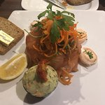 Cold salmon and prawn salad. Amazing value - lots of salmon.