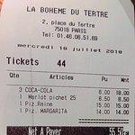 El ticket de nuestro almuerzo