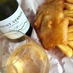 Fresh snapper fish and chips with a chilled glass of our favourite pinot gris.