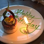 Lovely surprise from the staff at the end of a perfect birthday meal