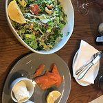 Chopped house salad with side salmon and goats cheese