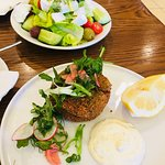 Salmon Fish Cakes and Greek Salad