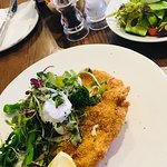 Crumbed Chicken with broccoli salad and goats cheese