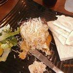 alligator sausage and shrimp cheesecake with pita