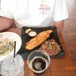 catfish dinner with salad