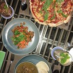 Spicy beef salad & HQ Pizza & Southern Thai lamb curry