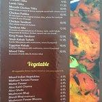 Menu, Tandoori Meals and Vegetable Dishes