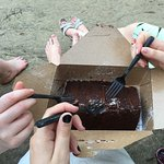 HUGE slice of THE BEST chocolate cake!!! The three of us couldn't finish it!!