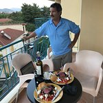 Dinner made in the kitchen and eaten on the balcony at Palatino