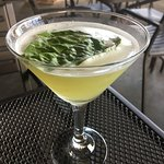 Delicious martini with fresh basil!