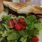 Jerk Chicken sandwich with side salad