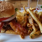 Moxie Burger with Bacon and Bleu Cheese