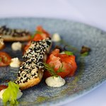 Citrtus cured Ora King salmon with prawn toast