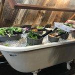 Salad bar served in bathtubs.